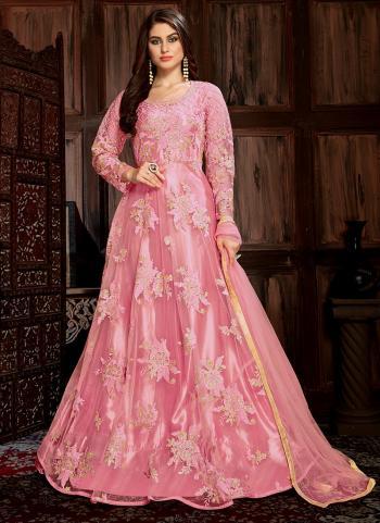 Sequins Work Pink Net Festival Wear Anarkali Suit