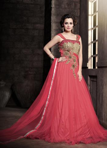Pink Net Party Wear Embroidered Work Anarkali Suit