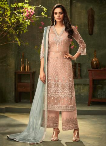 Pink Net Party Wear Embroidery Work Pakistani Suit