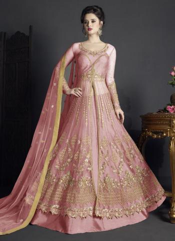 Pink Net Reception Wear Embroidery Work Anarkali Suit