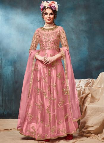 Gorgeous Reception Wear Pink Net Embroidery Work Anarkali Suit