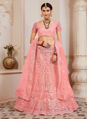 Reception Wear Pink Net Embroidery Work Lehenga Choli