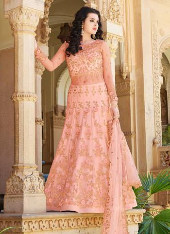 Online Reception Wear Pink Net Hand Work Anarkali Suit