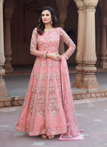 Pink Net Reception Wear Heavy Embroidery Work Anarkali Style