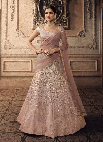 Latest Reception Wear Pink Net Sequins Work Lehenga Choli
