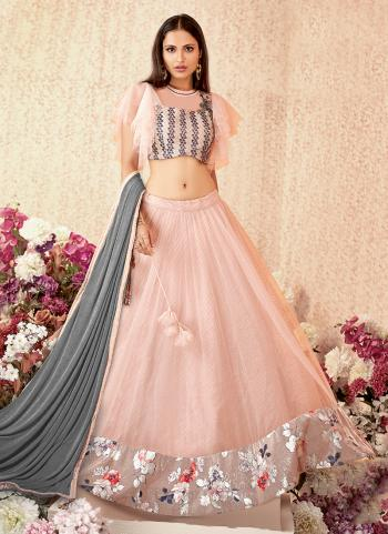 Pink Net Reception Wear Thread Work Heavy Lehenga Choli