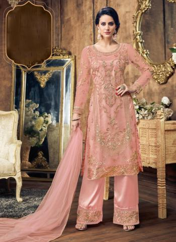 Pink Net Wedding Wear Embroidery Work Palazzo Suit