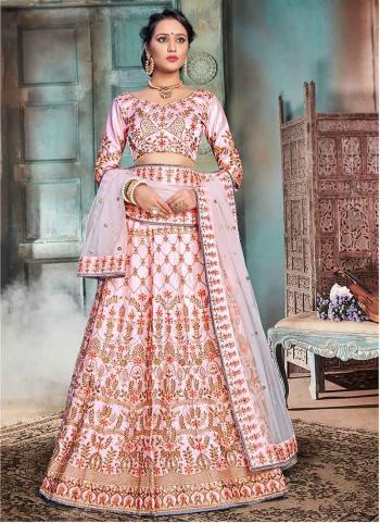 Pink Nylon Satin Party Wear Embroidery Work Lehenga Choli