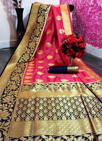 Pink Nylon Silk Festival Wear Zari Work Saree