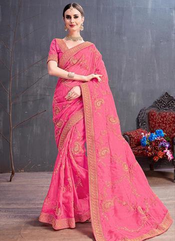 Pink Organza Wedding Wear Sequins Work Saree