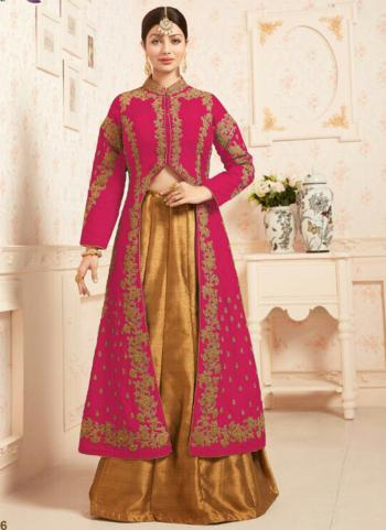 Pink Party Wear Silk Embroidered Work Anarkali Suit