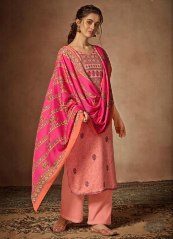 Pink Pashmina Daily Wear Printed Work Palazzo Suit
