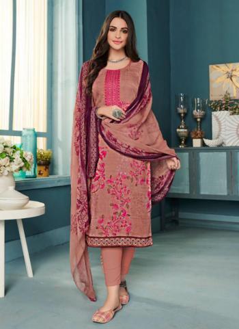 Pink Pashmina Regular Wear Embroidery Work Churidar Suit