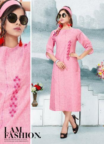 Pink Pure Linen Regular Wear Embroidery Work Kurti