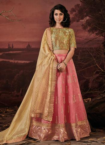 Pink Row Silk Reception Wear Heavy Embroidery Work Lehenga Choli
