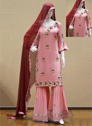 Pink Satin Crepe Reception Wear Hand Work Salwar Suit