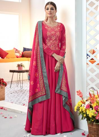 Pink Satin Festival Wear Embroidery Work Ready Made Anarkali Suit