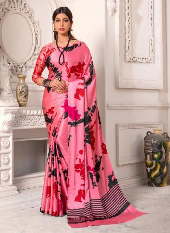 Pink Satin Silk Casual Wear Digital Print Saree