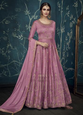 Pink Satin Wedding Wear Embroidery Work Anarkali Suit