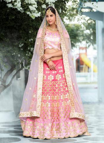 Pink Silk Bridal Wear Gota Patti Work Lehenga Choli