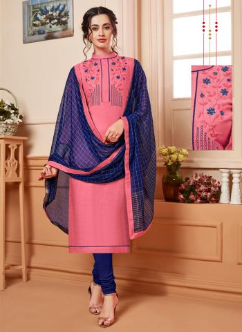 Pink Silk Casual Wear Embroidery Work Churidar Suit