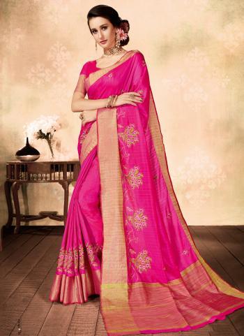 Pink Silk Casual Wear Embroidery Work Saree