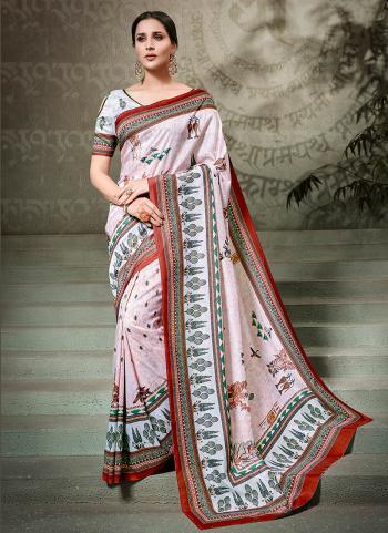 Classy Pink Silk Festival Wear Printed Saree