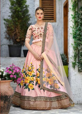 Pink Silk Festival Wear Sequins Work Lehenga Choli