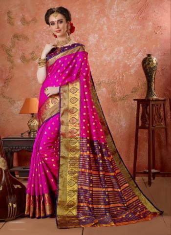 Pink Silk Festival Wear Zari Work Saree