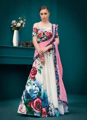 Pink And White Silk Digital Printed Lehenga Choli