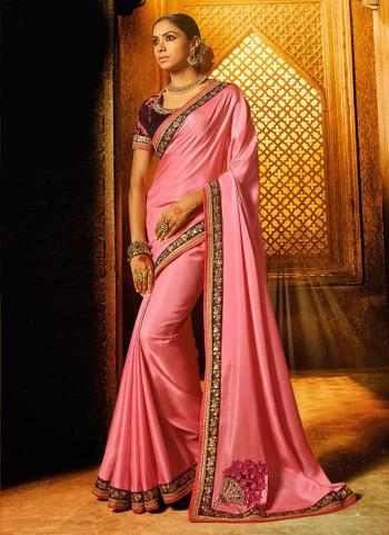 Pink Silk Party Wear Lace Work Saree