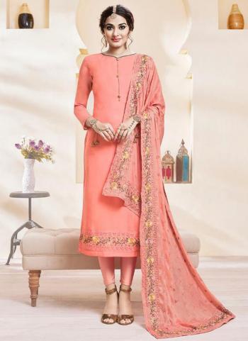 Pink Silk Wedding Wear Embroidery Work Churidar Suit