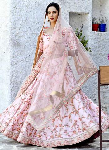 Pink Silk Wedding Wear Resham Zari Work Lehenga Choli