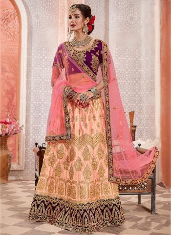 Pink Silk Wedding Wear Zari Work Lehenga Choli
