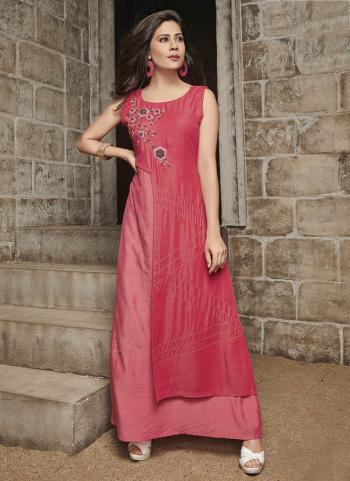 Pink Two Tone Slub Party Wear Hand Work Gown