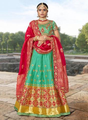 Pista Green Banarasi Jacquard Wedding Wear Heavy Embroidery Work Lehenga Choli