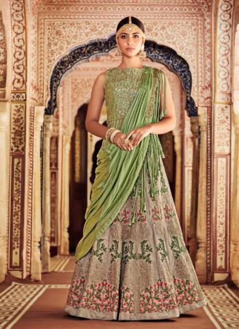 Pista Green Banarasi Silk Bridal Wear Thread Embroidery Work Lehenga Choli