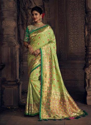 Pista Green Dola Silk Reception Wear Zardosi Work Saree