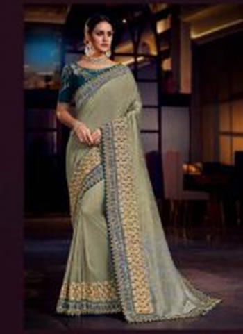 Pista Green Fancy Wedding Wear Border Work Saree