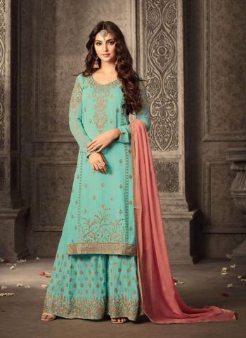 Pista Green Georgette Festival Wear Embroidery Work Plaza Salwar Suit