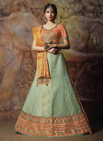Pista Green Jacqaurd Silk Reception Wear Thread Work Lehenga Choli