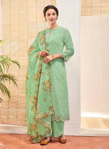 Pista Green Jacquard Cotton Festival Wear Embroidery Work Palazzo Suit