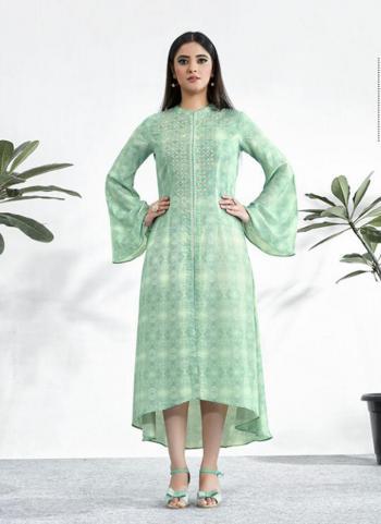 Pista Green Muslin Casual Wear Digital Printed Resham Work Kurti