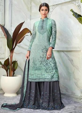 Pista Green Muslin Viscose Party Wear Digital Print Sharara Suit