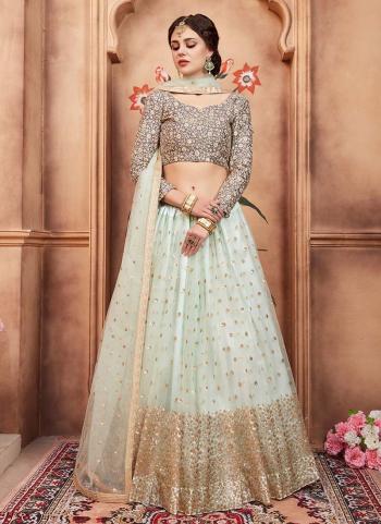 Pista Green Net Reception Wear Sequins Work Lehenga Choli