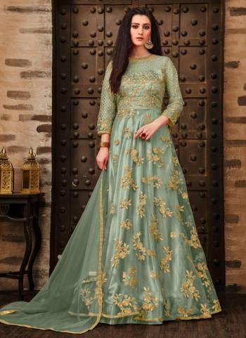 Pista Green Net Wedding Wear Embroidery Work Anarkali Suit