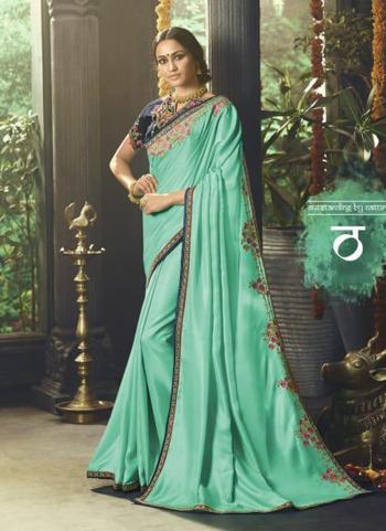 Pista Green Silk Party Wear Resham Work Saree