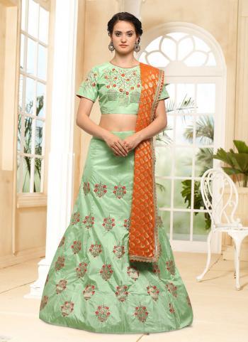 Pista Green Silk Wedding Wear Embroidery Work Lehenga Choli