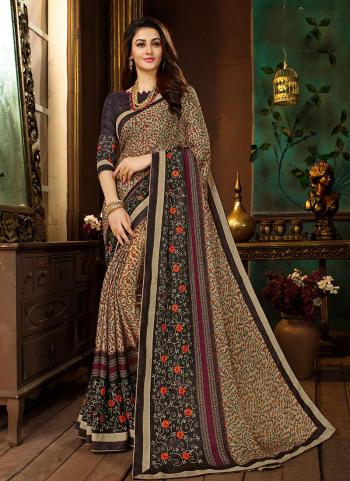 Printed Work Beige Rangoli Georgette Regular Wear Saree