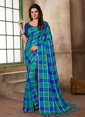 Printed Work Blue Two Tone Silk Daily Wear Saree